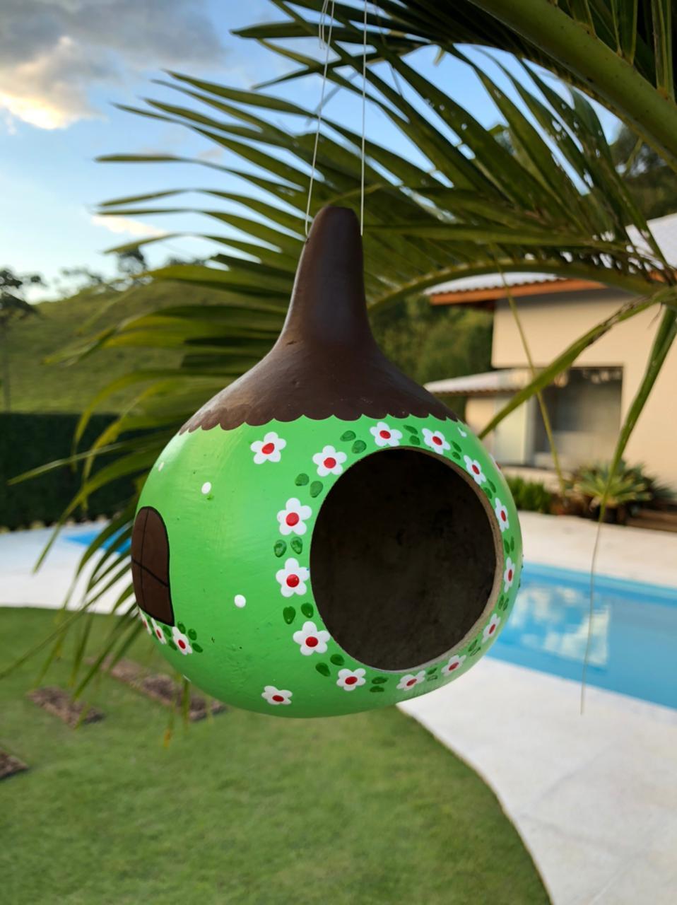 Casa de Pássaro em Cabaça - Verde