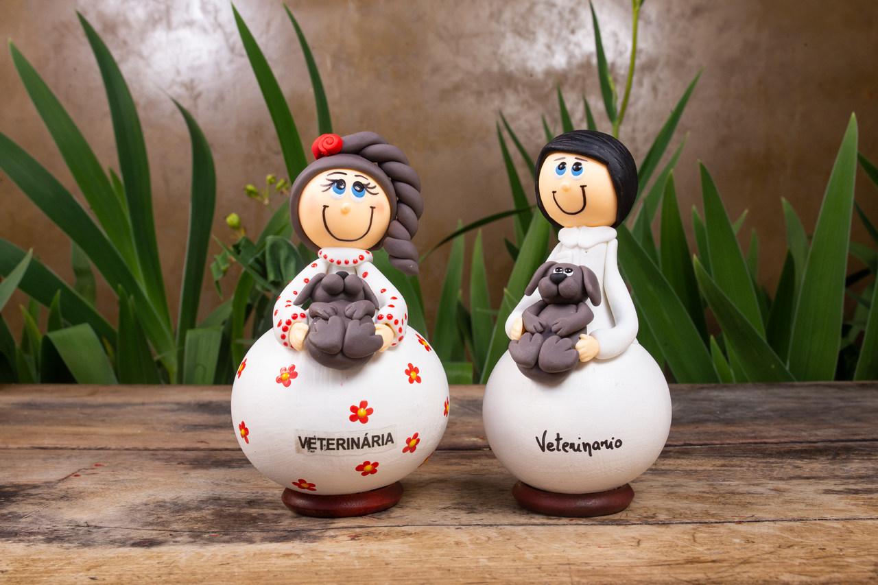 Casal de Bonecos em Cabaça Profissões - Veterinários