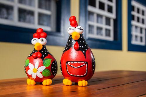 Casal de Galinhas Decorativas em Cabaça