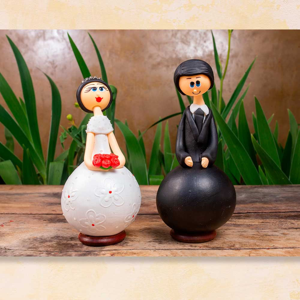 Casal de noivos em cabaça