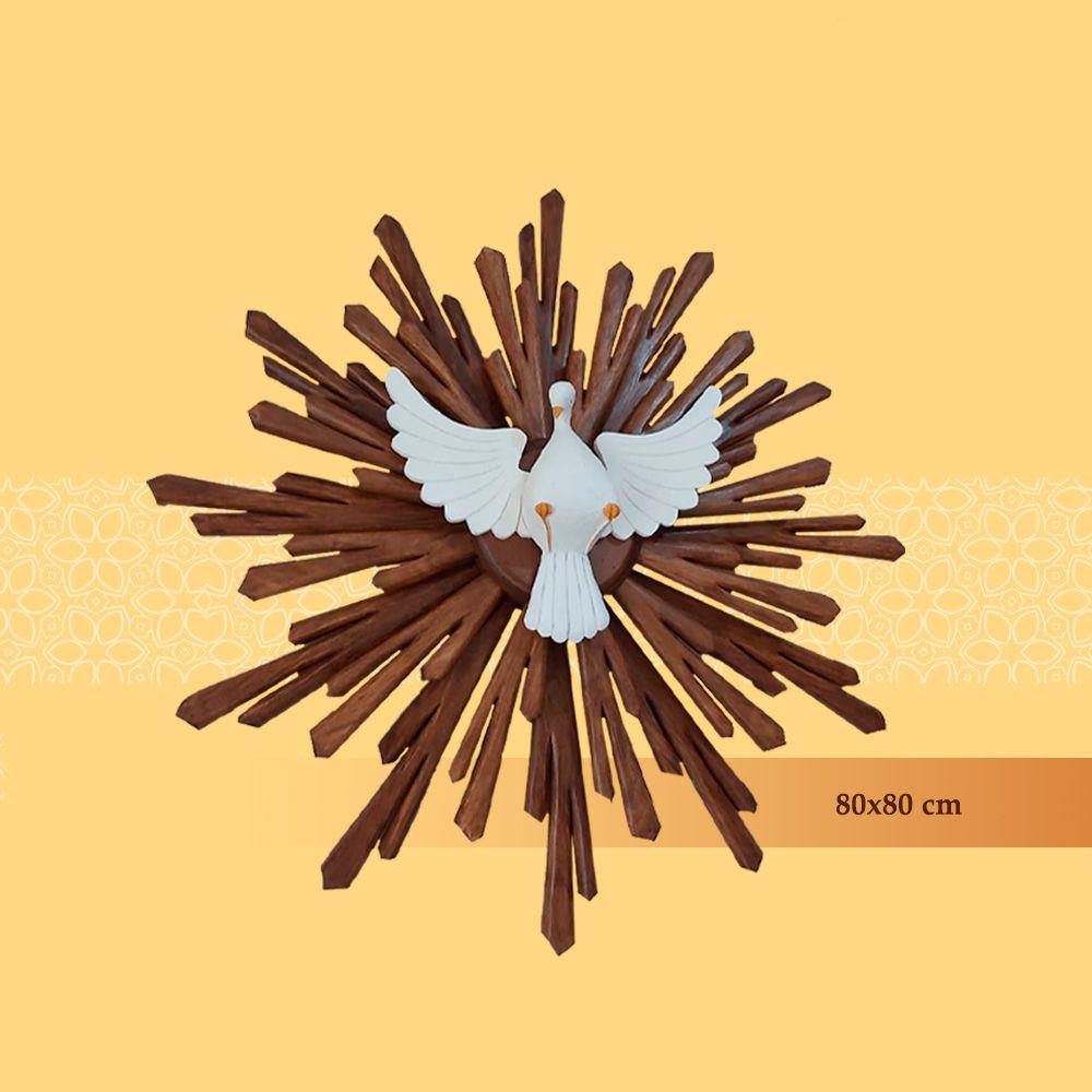 Divino Resplendor em Madeira de Jequitibá 80 cm x 80 cm