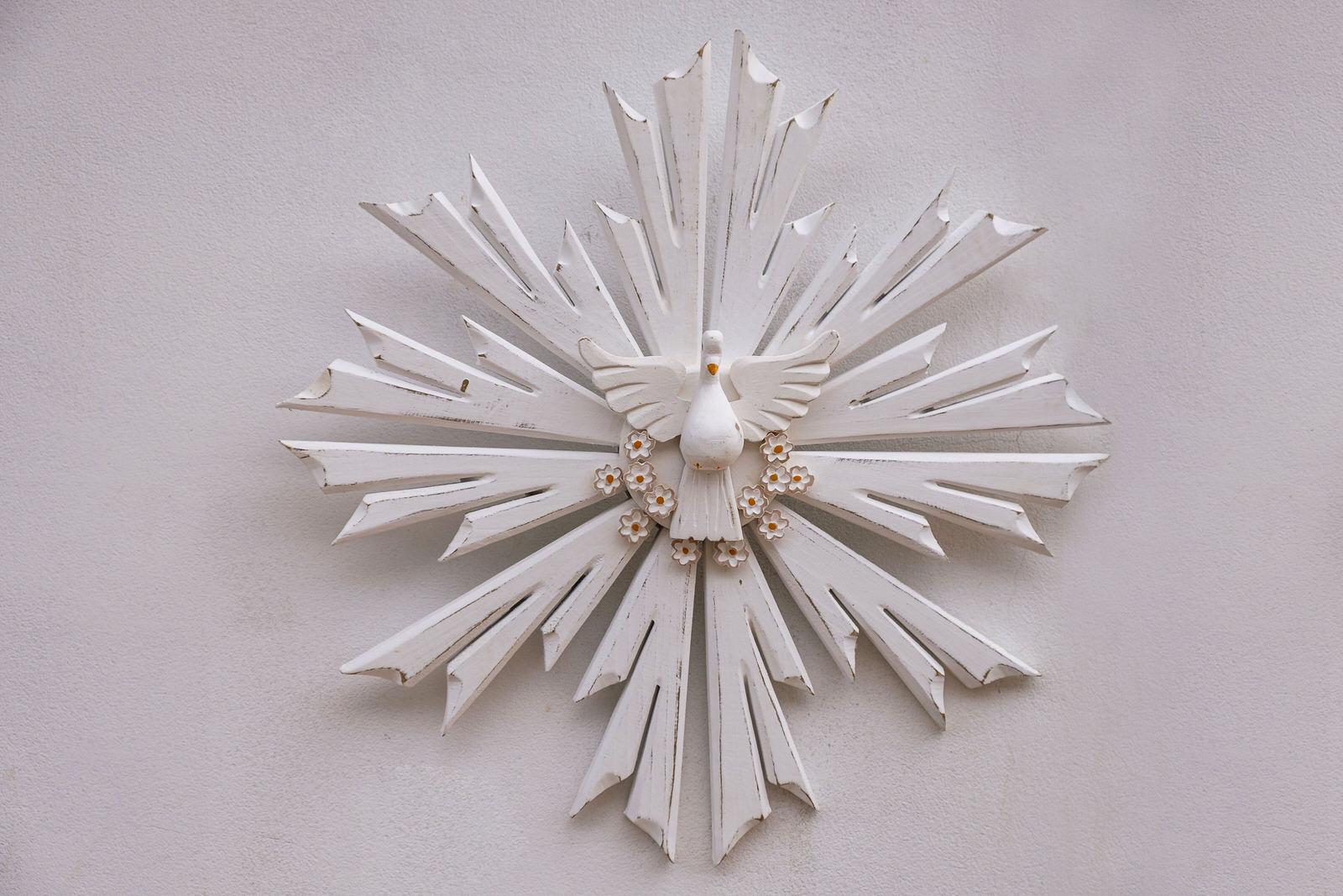 Divino Resplendor 54 cm x 54 cm - Branco com Flores