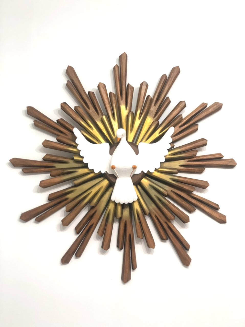 Divino Resplendor 80 cm x 80 cm - Marrom e Dourado