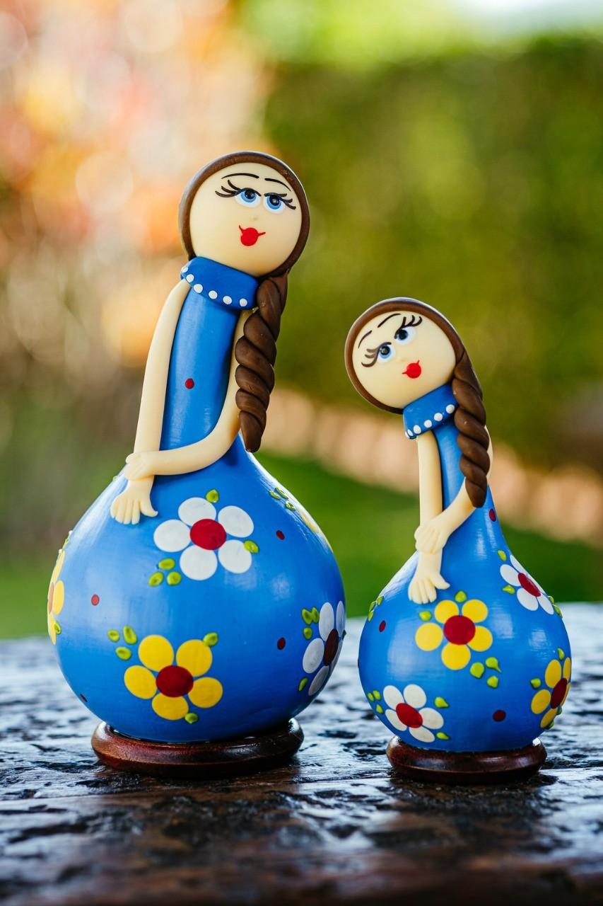 Dupla de Bonecas em Cabaça com Vestido Azul