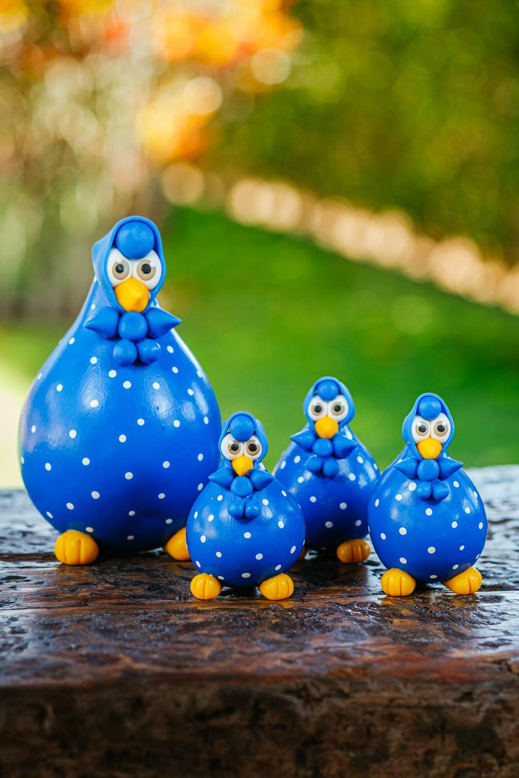 Família de Galinhas Azuis em Cabaça com Lenço