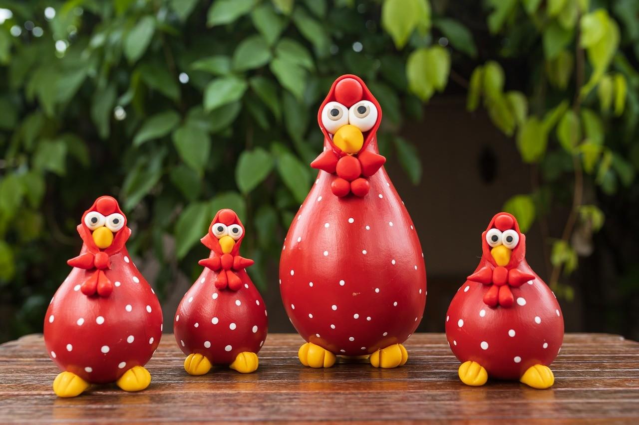 Família de Galinhas Vermelhas em Cabaça com Lenço