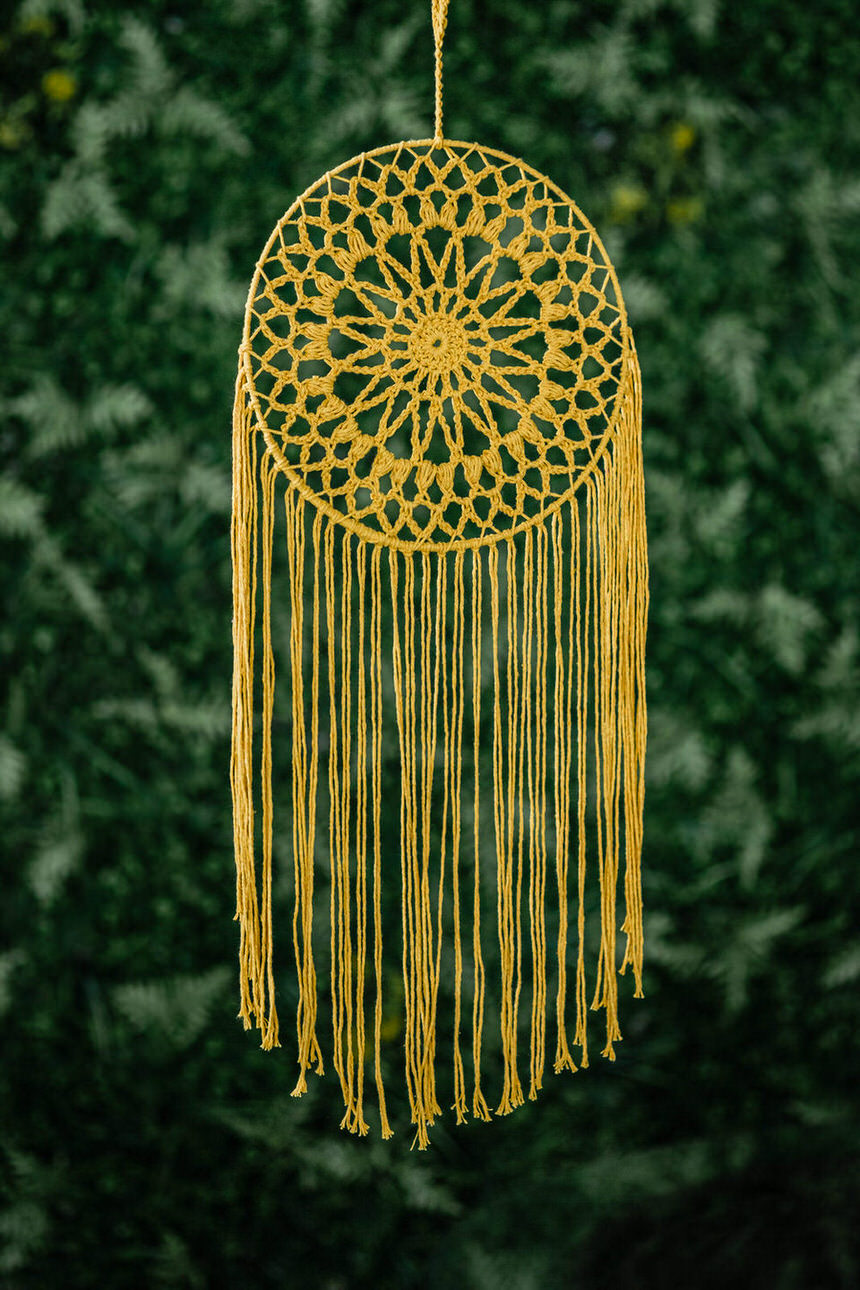 Filtro dos Sonhos em Crochê - Amarelo