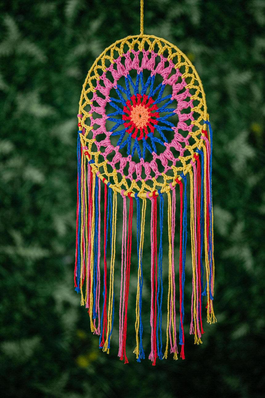 Filtro dos Sonhos em Crochê - Arco-íris