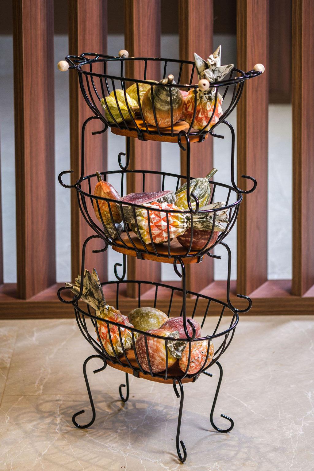 Fruteira oval de 3 andares
