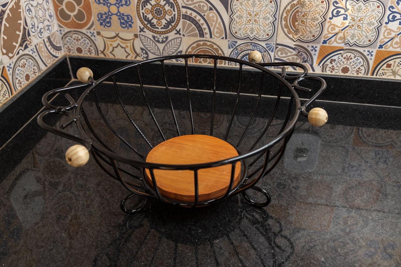 Fruteira Pequena Redonda com Alças em Ferro