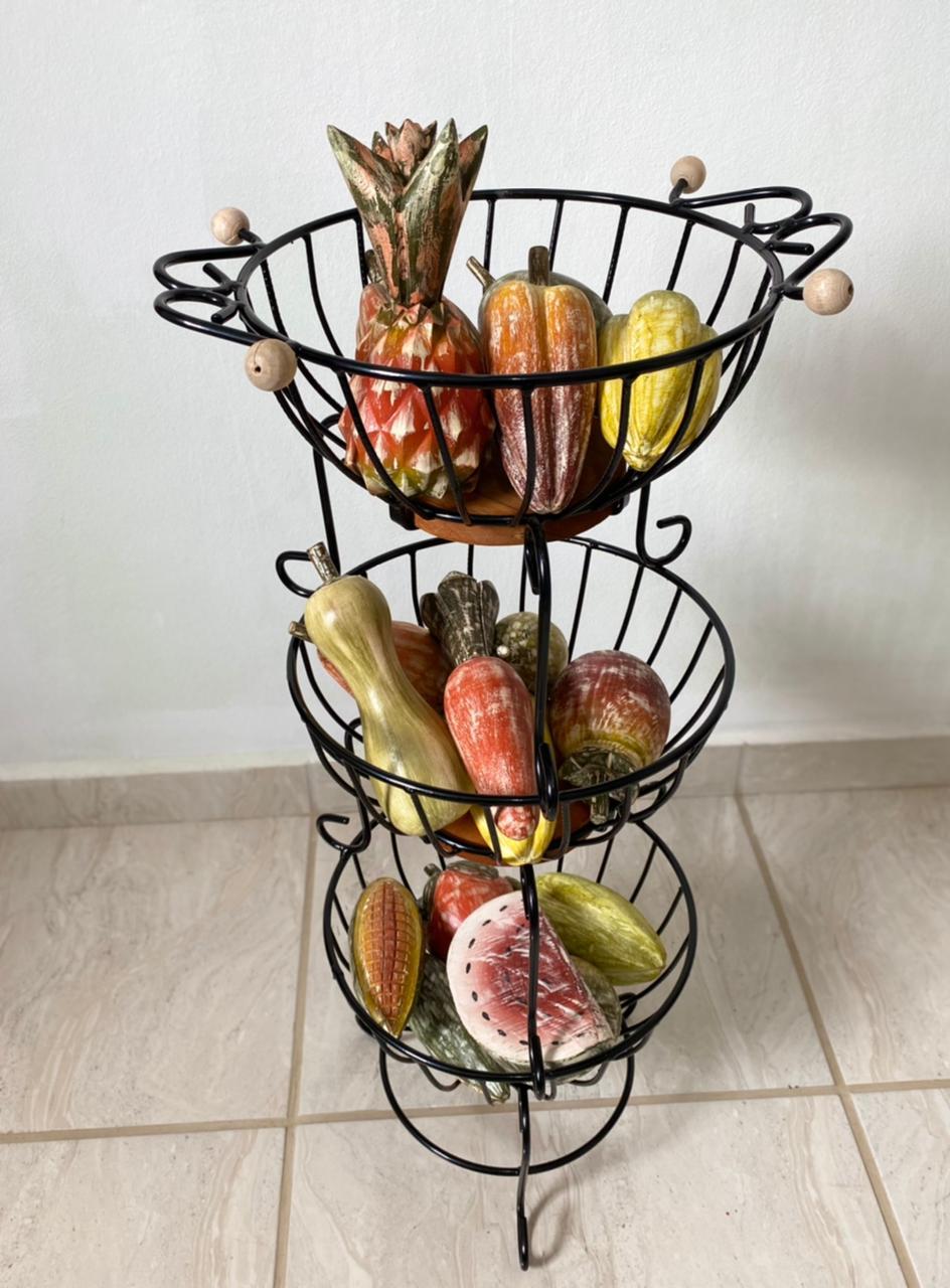 Fruteira redonda de 3 andares