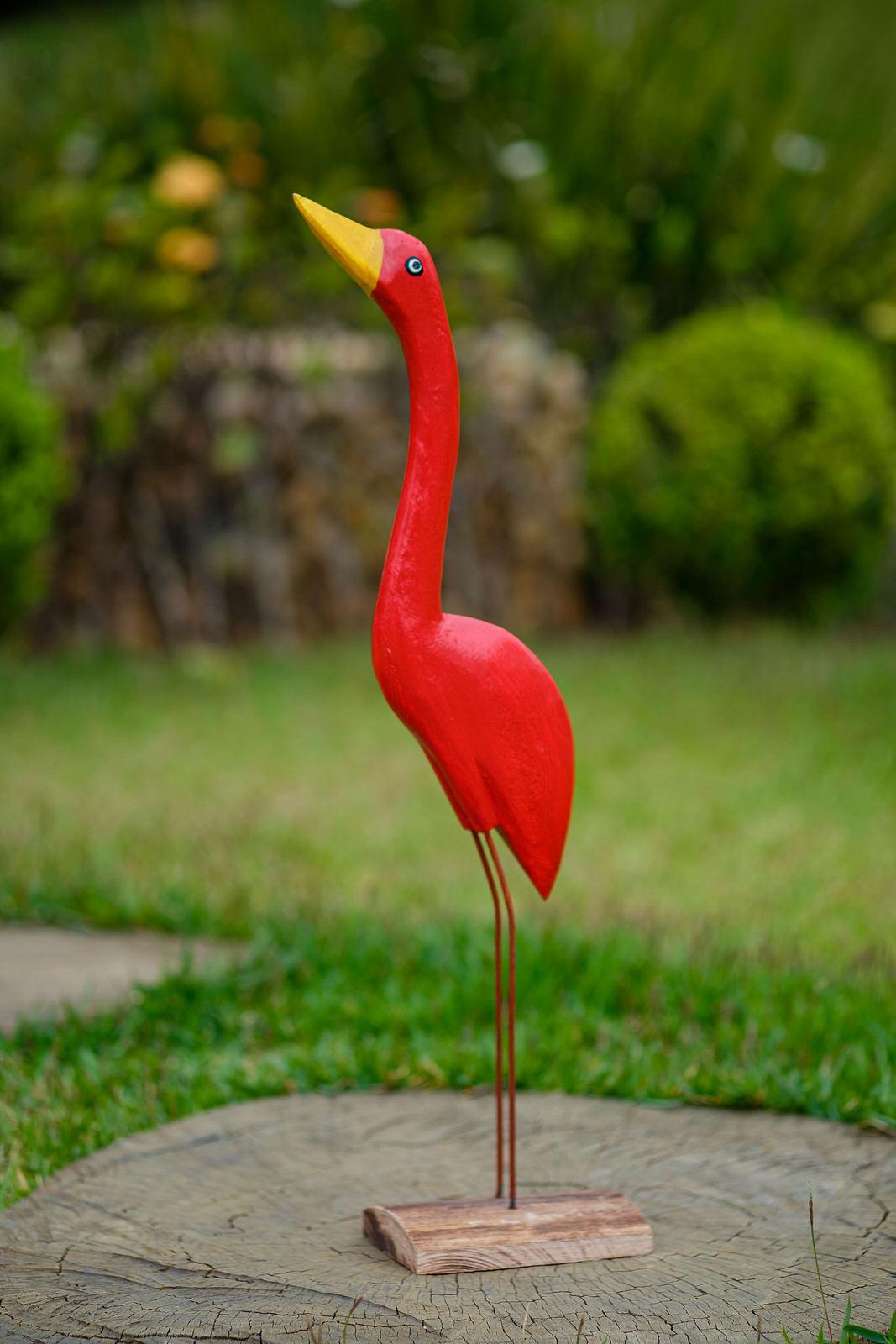 Garça Decorativa Vermelha - 47 cm x 12 cm