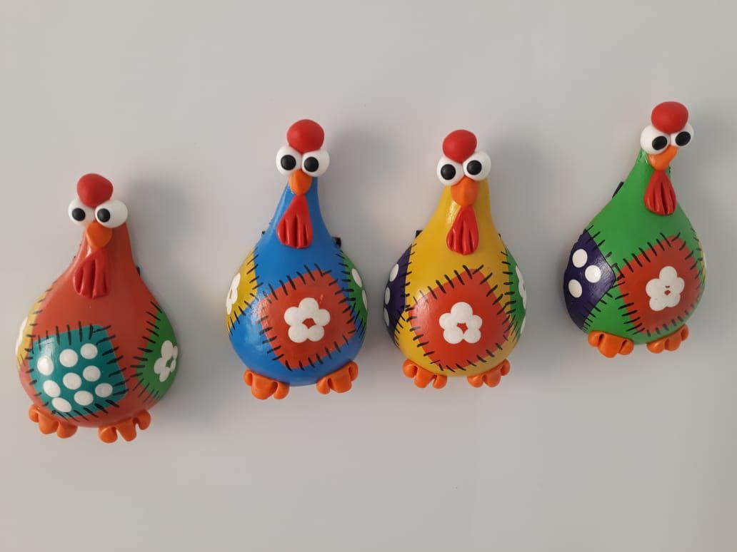 Imãs de galinha em cabaça patchwork unidade