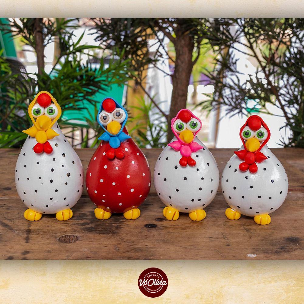 Kit 4 Galinhas Decorativas em Cabaça com Lenço