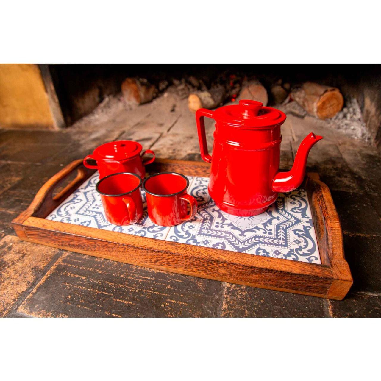 Kit bandeja, bule 1 litro e canecas vermelhas e açucareiro