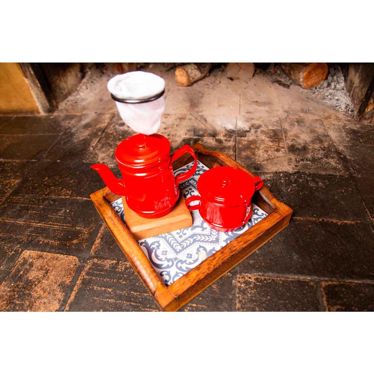 Kit bandeja pequena, kit mini bule 250 ml e açucareiro vermelho