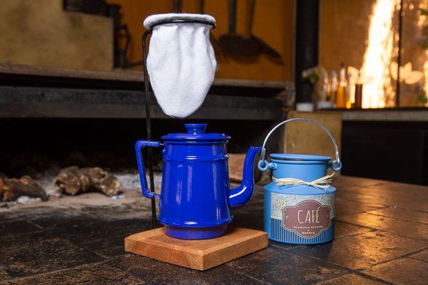 Kit bule 1 litro e leiteira 1 litro azul