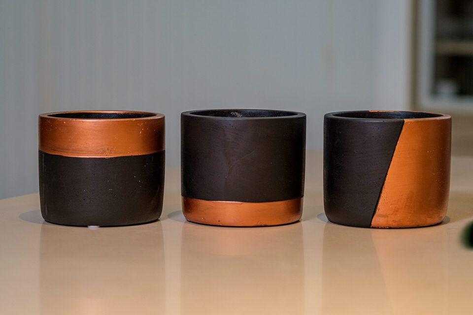 Kit cachepot com 3 peças preto e cobre em cimento