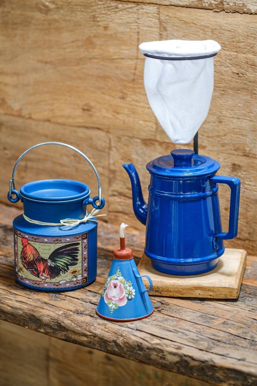 Kit Café 1 Litro + Lamparina / Azul Escuro