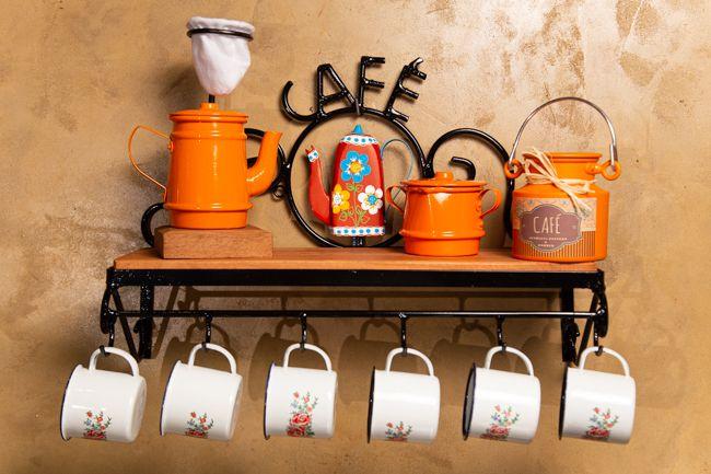 Kit cantinho do café com açucareiro e mini leiteira laranja canecas com flores