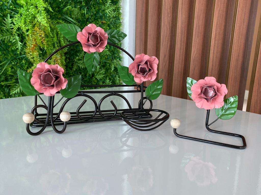 Kit de Banheiro Rústico - Rosa