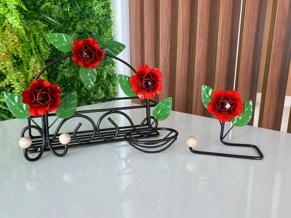 Kit de Banheiro Rústico - Vermelho