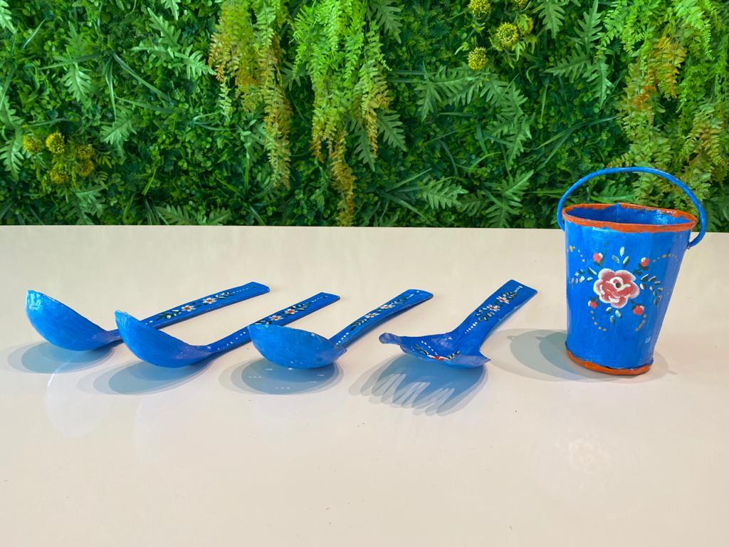 Kit Decorativo com Baldinho e Talheres - Azul
