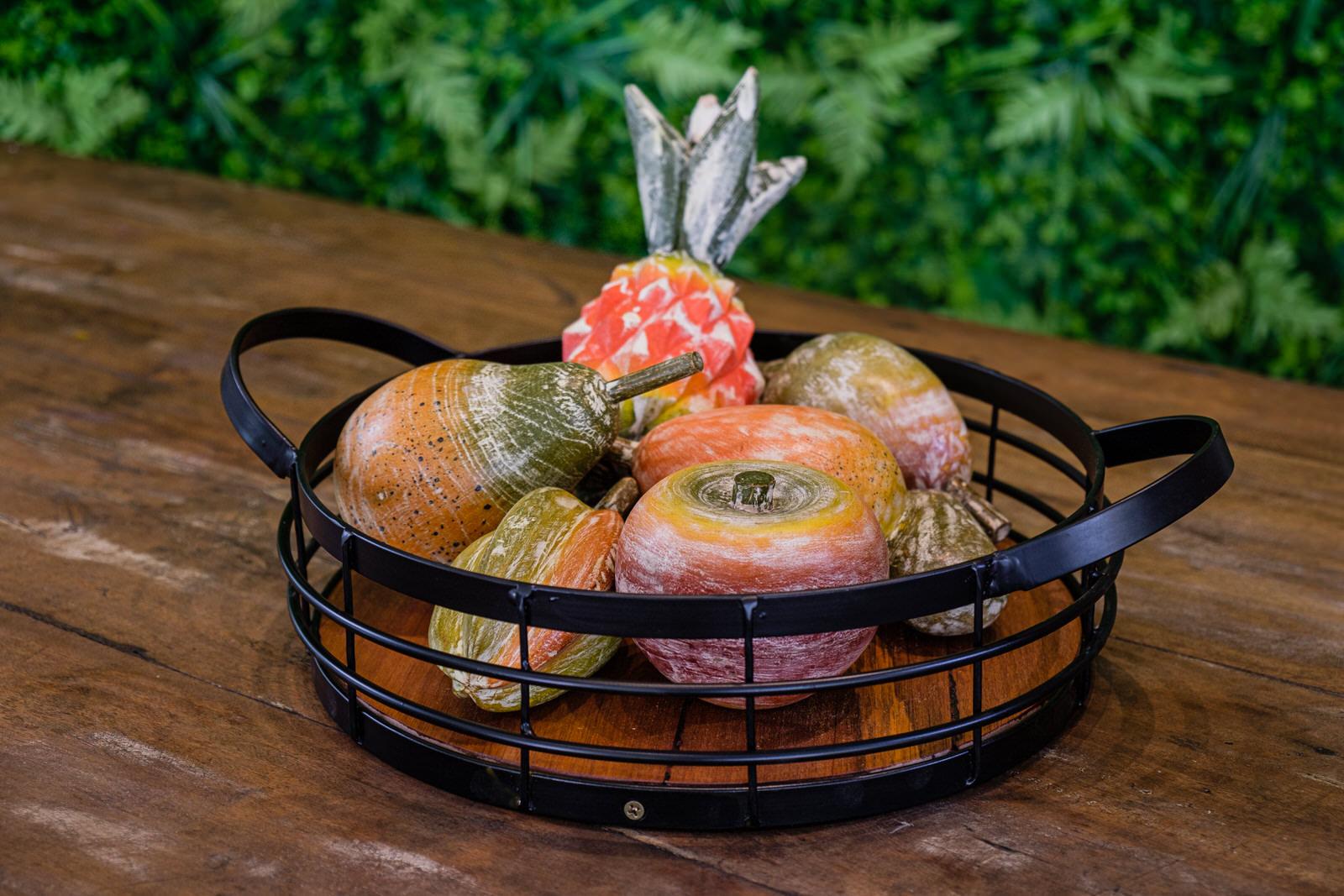 Kit Fruteira Encanto Mineiro + Frutas em Madeira