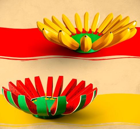 Kit Fruteiras Artesanais Rústicas - Banana e Melancia
