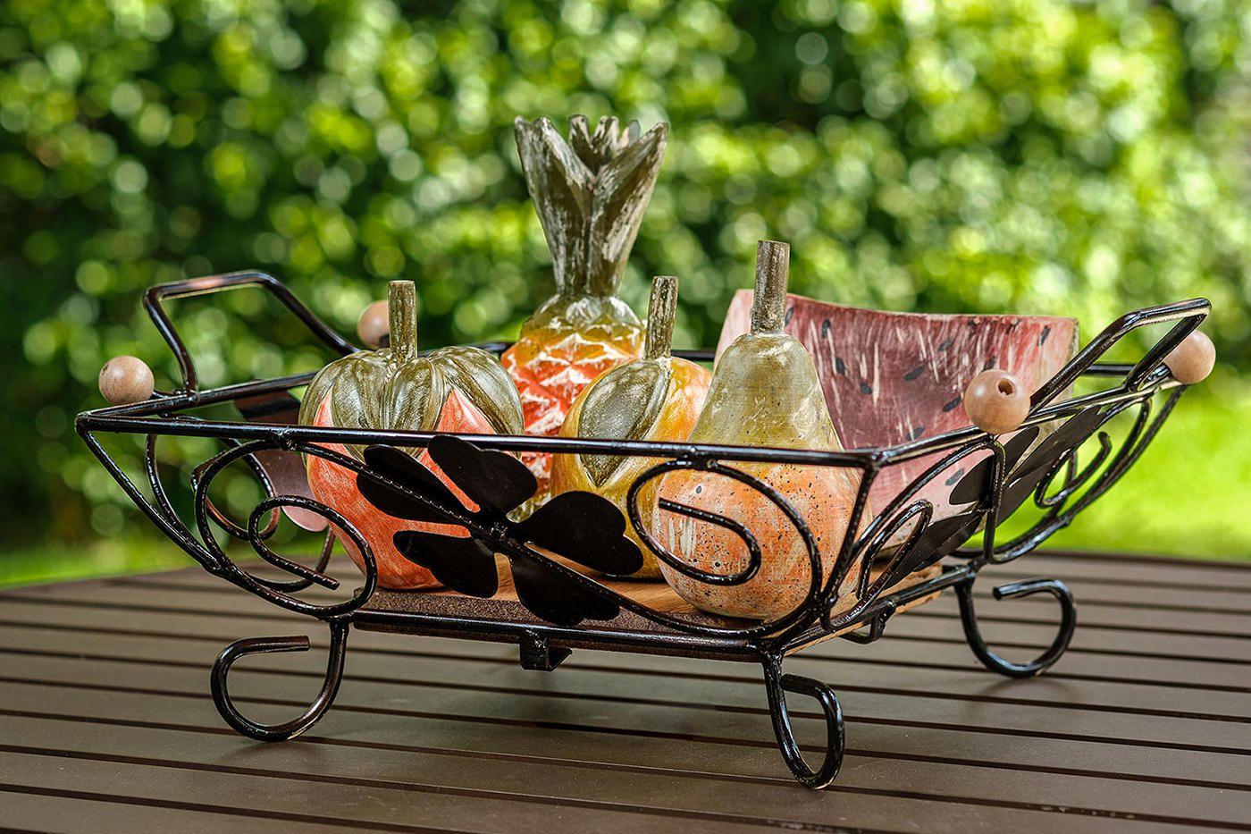 Kit fruteira em ferro trevo com frutas em madeira