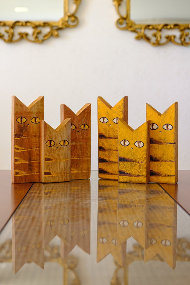 Kit Gatos Decorativos em Madeira