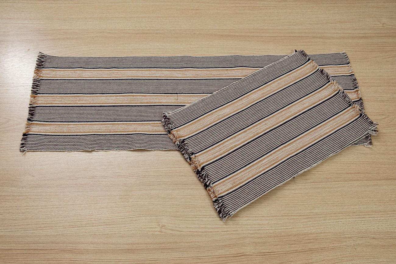 Kit Jogo Americano 06 peças + Trilho de Mesa / Bege e preto