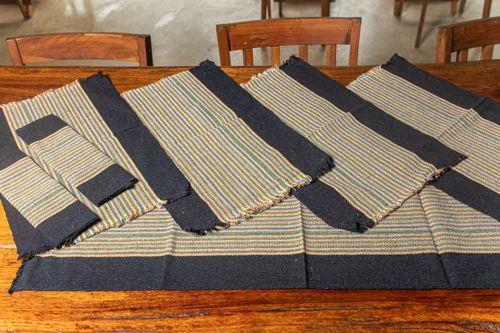 Kit jogo americano e passadeira em algodão - Borda escura