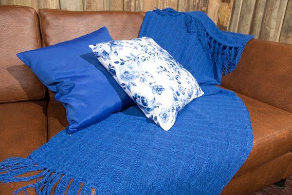 Kit manta e capa para almofadas - Azul caneta
