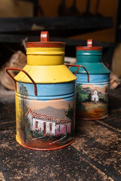 Kit mini latas de leite decoradas em latão