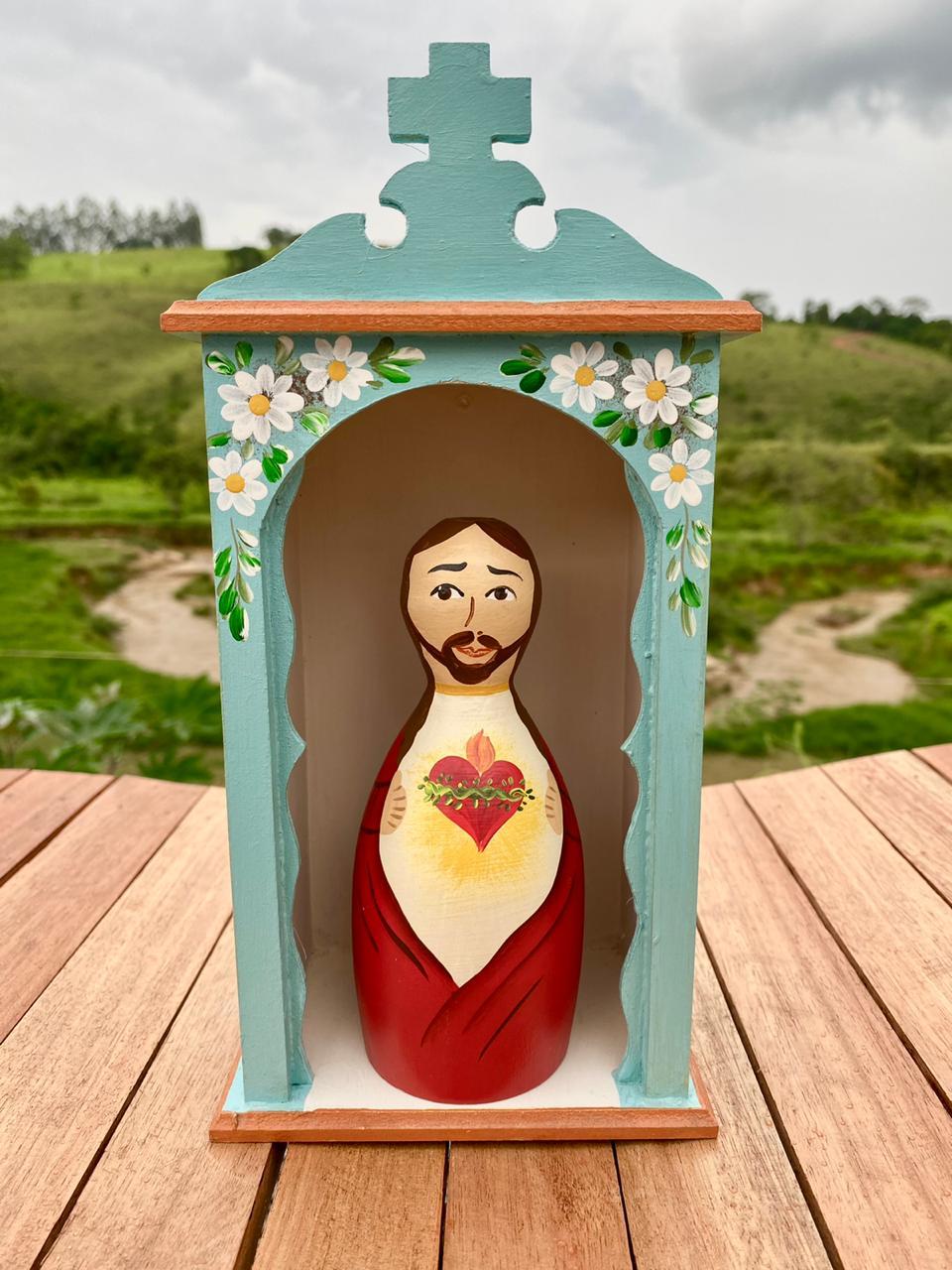 Kit Mini Oratório e Sagrado Coração de Jesus em Toco