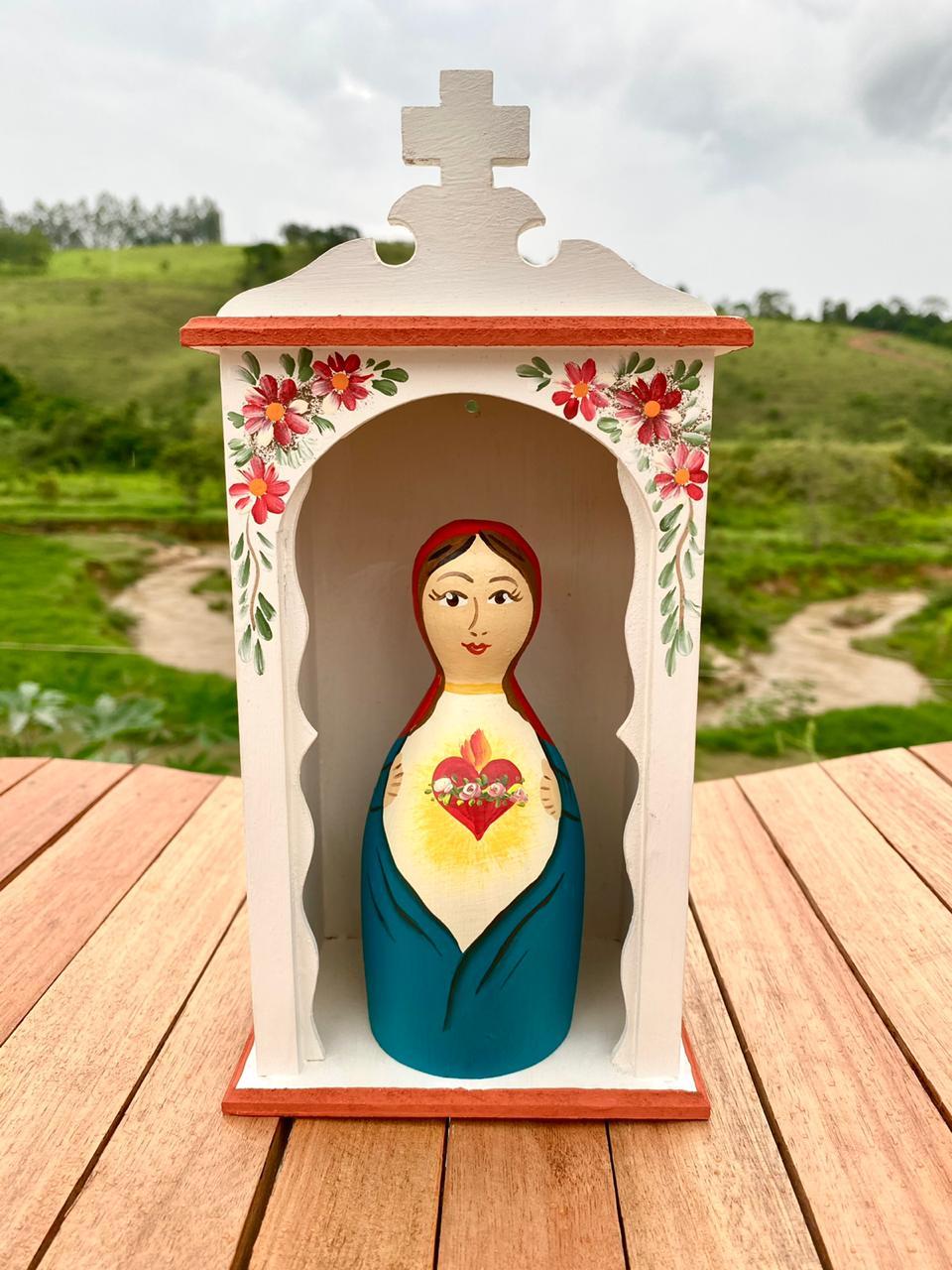 Kit Mini Oratório e Sagrado Coração de Maria em Toco