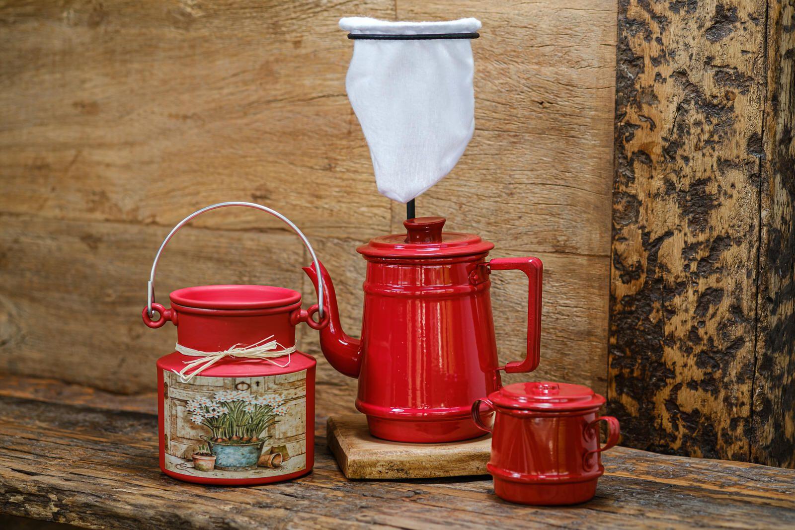 Kit para Café 1 Litro - Vermelho