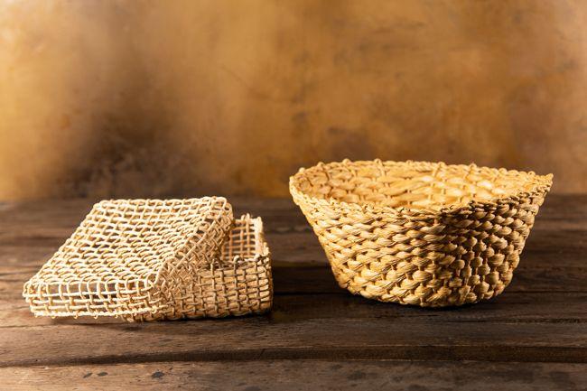 Kit porta guardanapo e cesto em palha