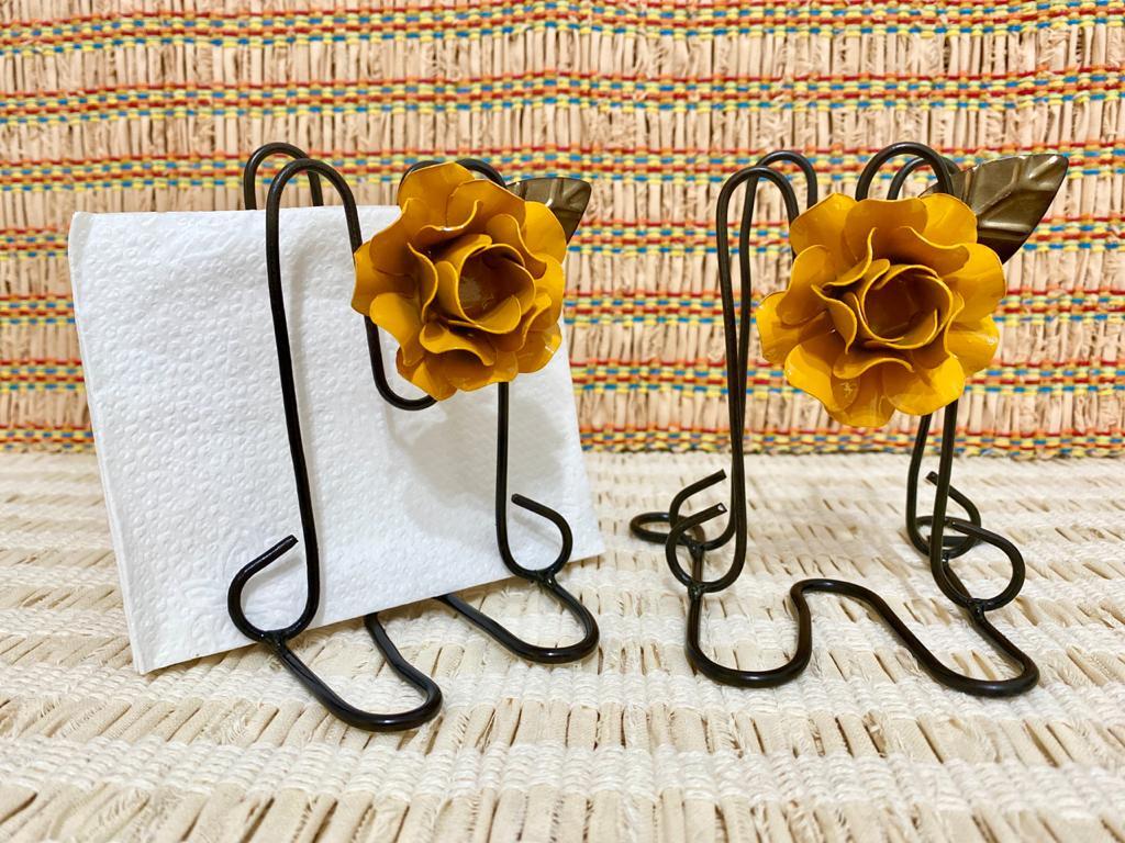 Kit Porta Guardanapo em Ferro - Flor Amarela