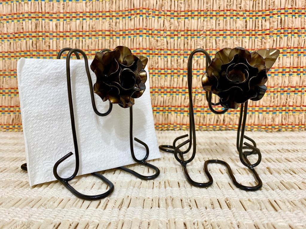 Kit Porta Guardanapo em Ferro - Flor Ouro Envelhecido
