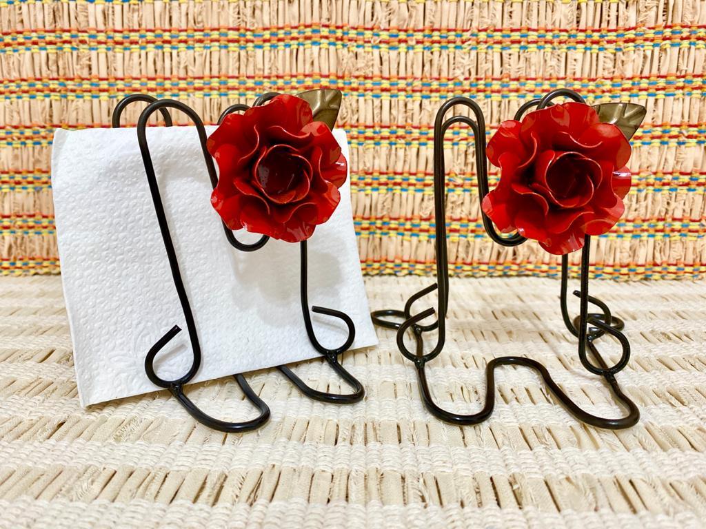 Kit Porta Guardanapo em Ferro - Flor Vermelho