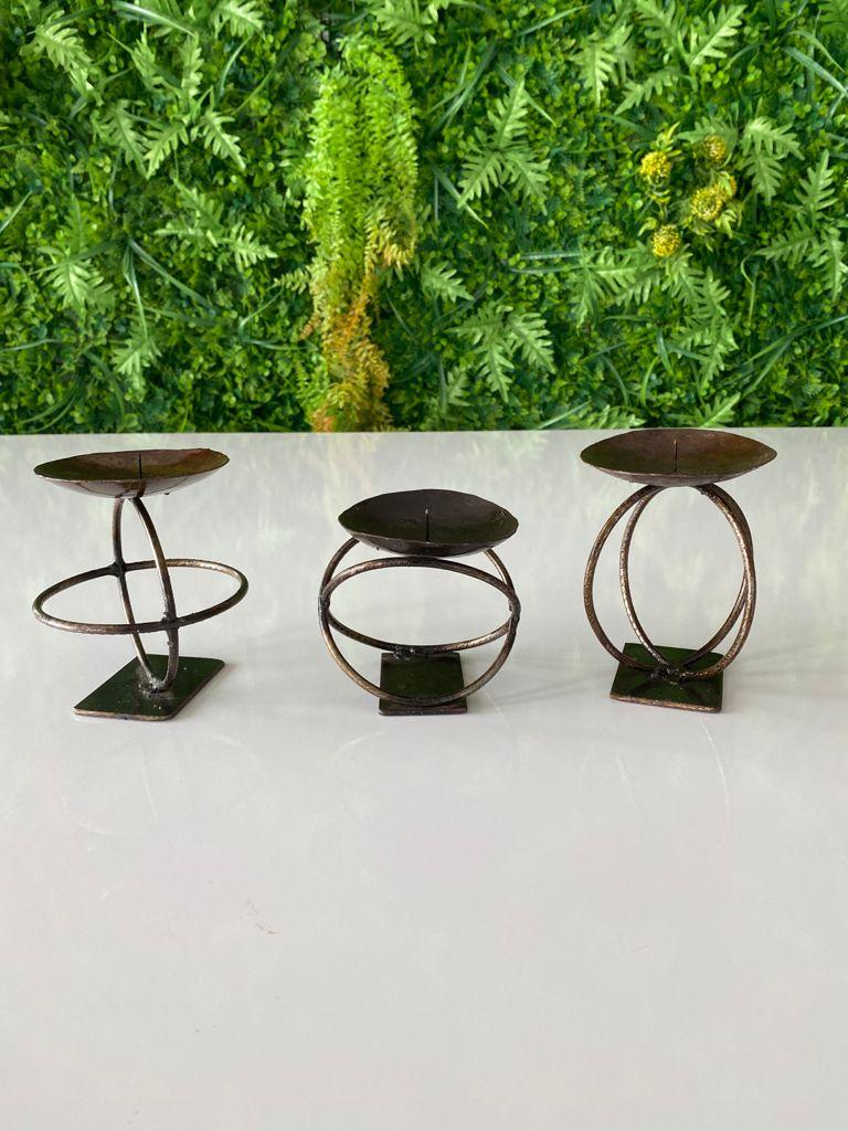 Kit Porta Velas em Ferro Artesanal