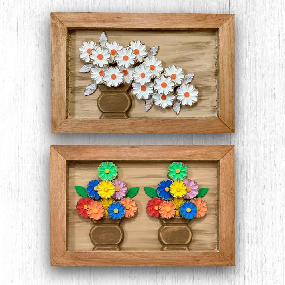 Kit Quadros com Vasos de Flores - 40 x 60 cm