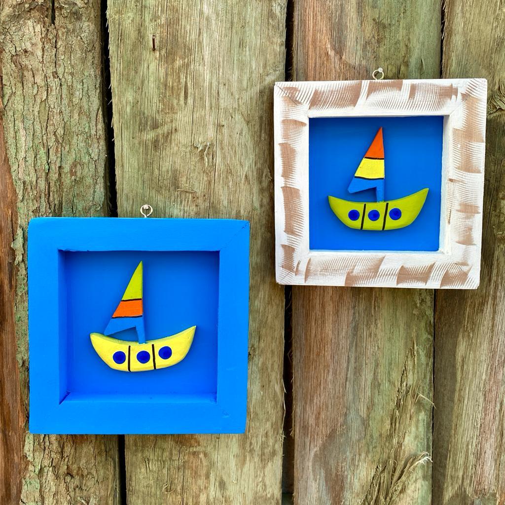 Kit Quadros em Madeira Rústica Decorados com Barco - Azul