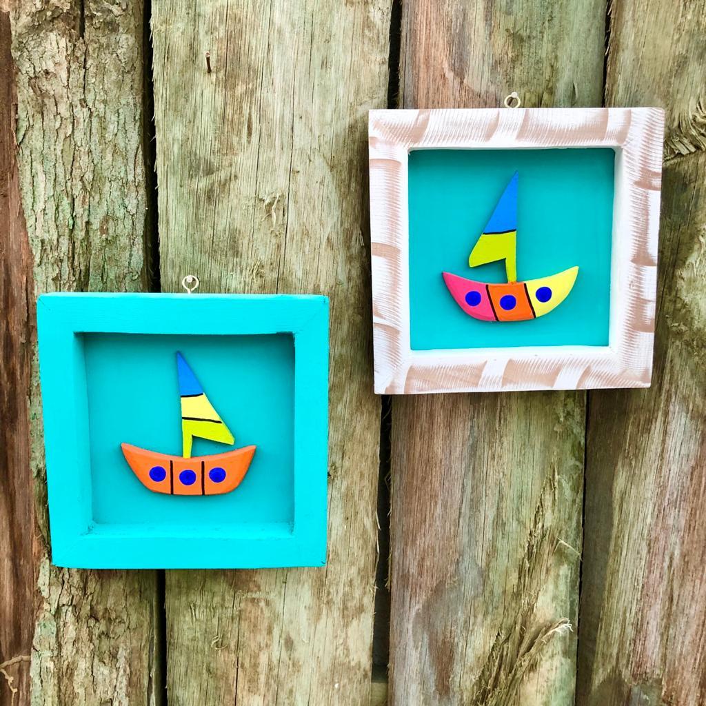 Kit Quadros em Madeira Rústica Decorados com Barco - Tiffany