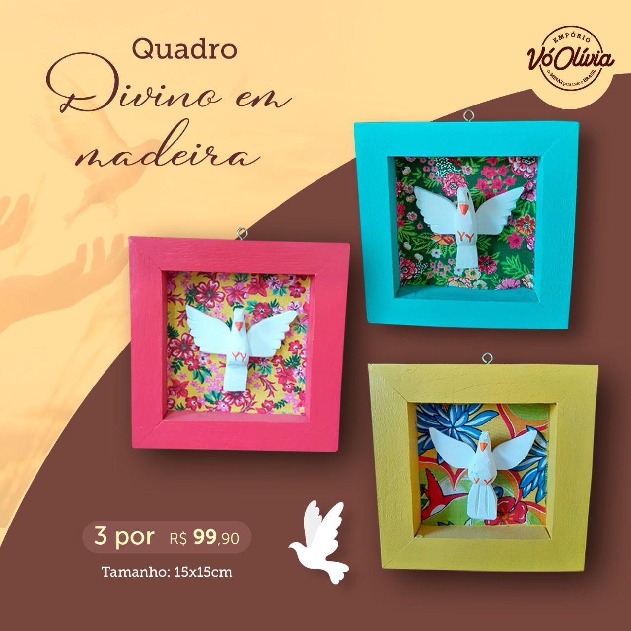 kit Quadros em Madeira Rústica Decorados em Divinos