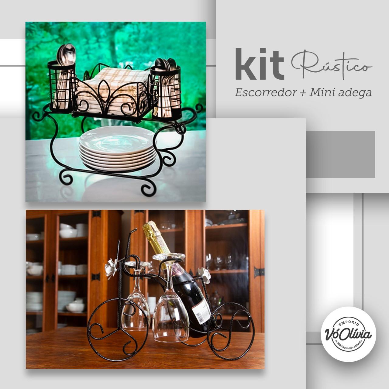 Kit Rústico - Escorredor Porta Pratos + Suporte Mini Adega