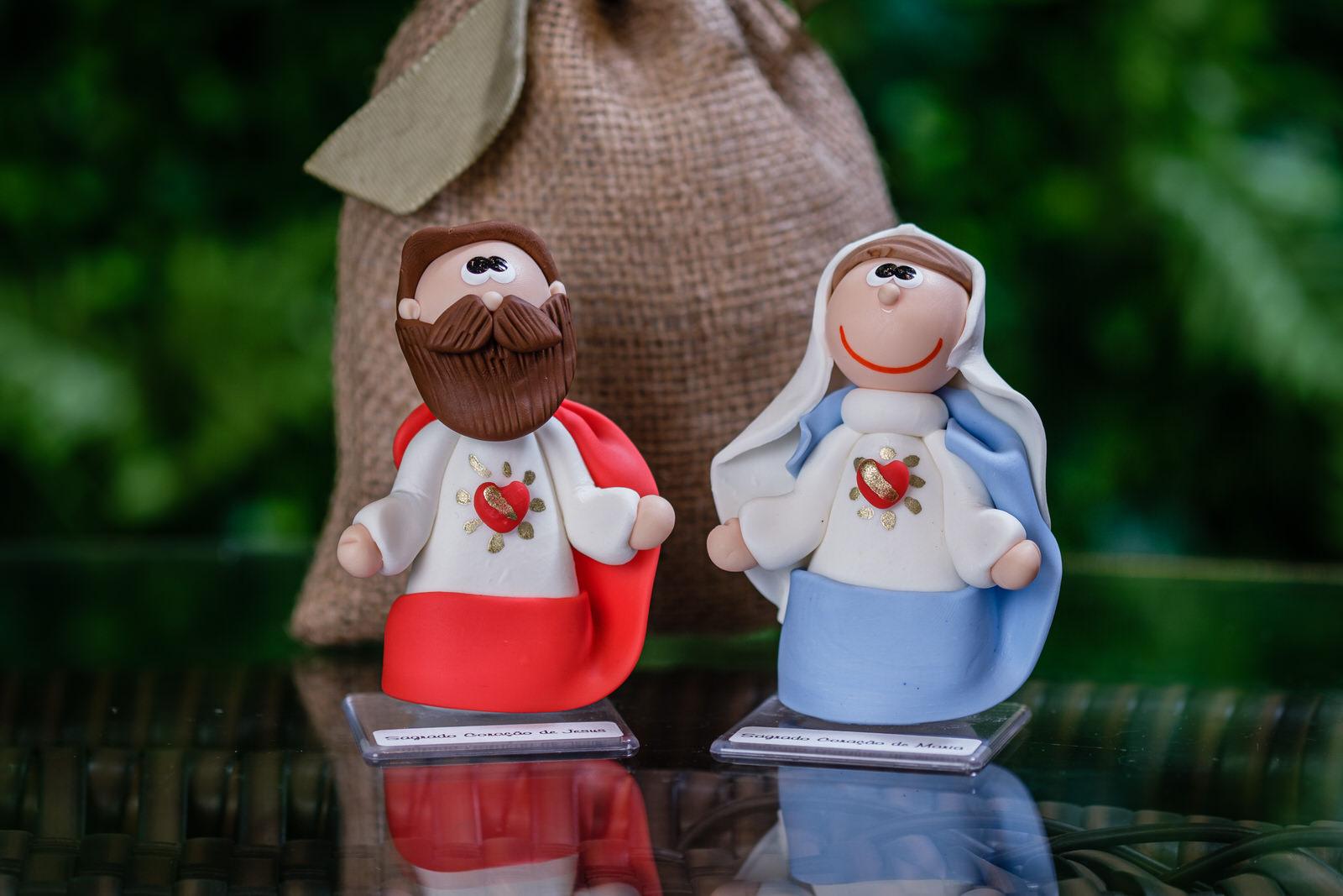 Kit Sagrado Coração de Jesus e Maria em Biscuit