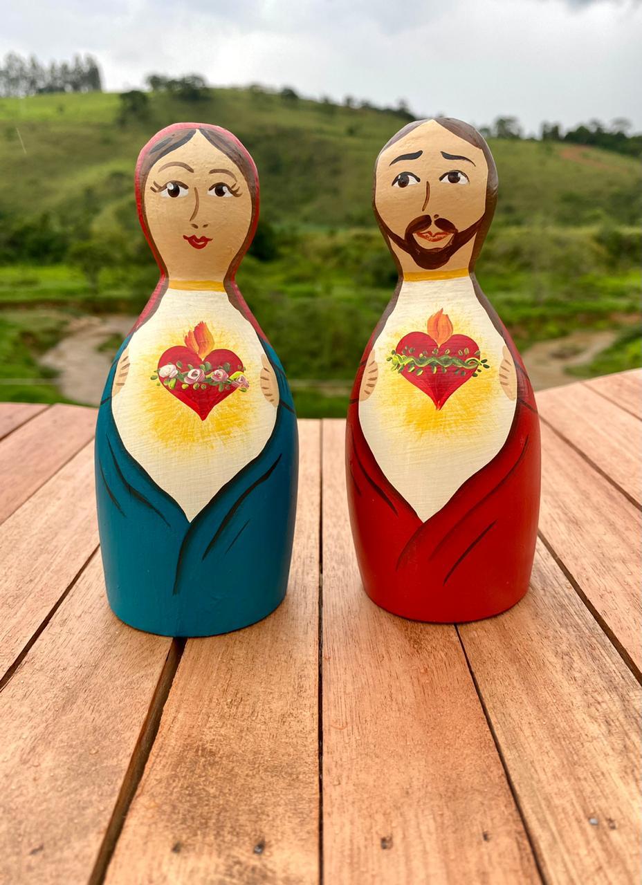 Kit Sagrado Coração de Jesus e Maria em Toco